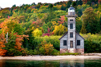 Grand Island East Channel Light with Lakeshore - Autumn