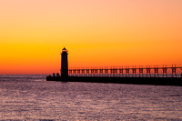 Orange Sky at Night, Manistee Michigan Lighthouse, Sunset