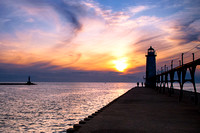 Manistee Lighthouse at Sunset, Manistee Michigan