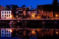 City view from the Manistee River, Manistee Michigan, twilight.