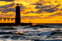 Stormy Lighthouse - Manistee Michigan Sunset