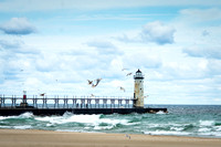 Lighthouse Painting - Manistee Michigan