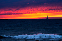 Ludington Michigan Lighthouse at Sunset