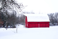 Red Barn in the White Winterscape